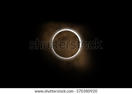 Planet eclipse on a starless dark background. Digital illustration. No elements of NASA or other third party. - stock photo