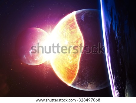 Planet Explosion - Apocalypse - End of The Time. Elements of this image furnished by NASA, unfocused - stock photo