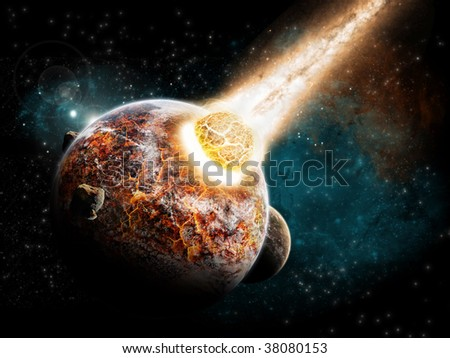 Planet explosion burned by a meteor.