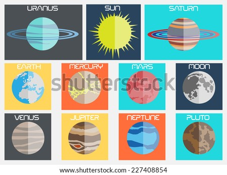 PLANET FLAT DESIGN - stock photo
