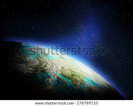Planet from space. Elements of this image furnished by NASA - stock photo