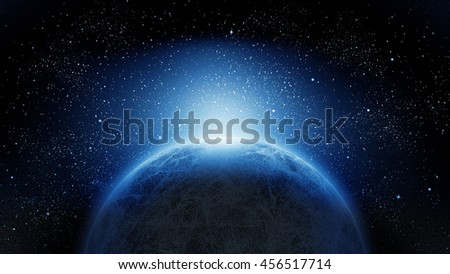 Planet from the space at night