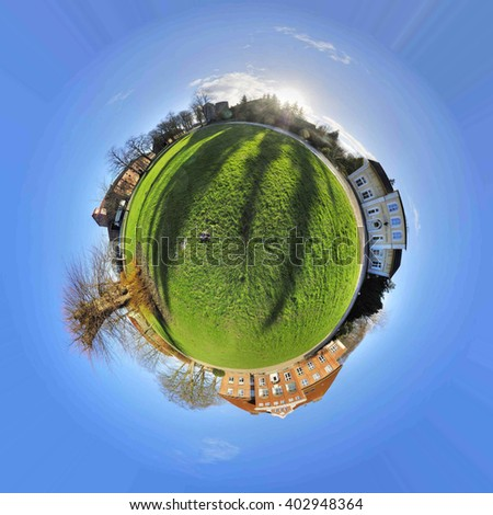 Planet, green Earth with houses and trees