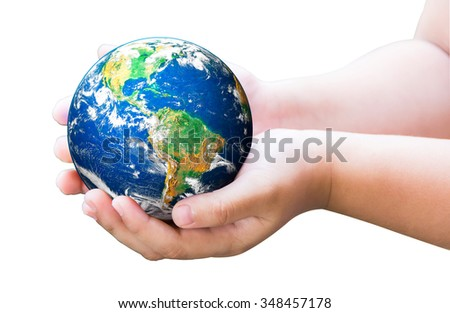 Planet in child hands on white background. World Environment Day. World Mental Health Day concept. Elements of this image furnished by NASA.