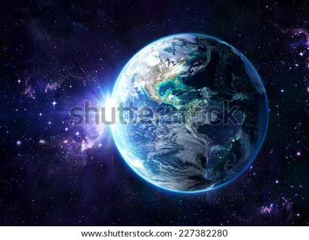 planet in cosmos - Usa view - Usa, elements of this image furnished by NASA  - stock photo