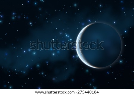 Planet in distant stellar system. No elements of NASA. Digital illustration. - stock photo