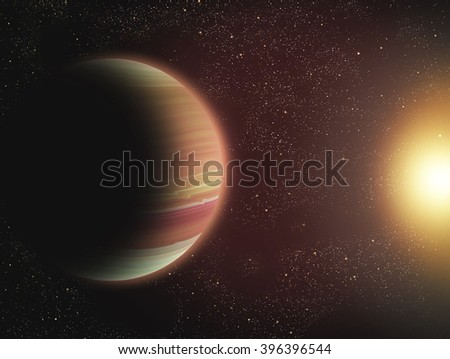 Planet  in outer space - stock photo