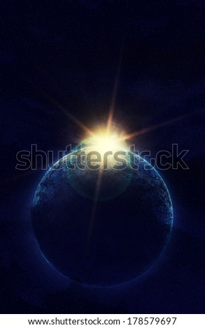 planet in space against the sun. Elements of this image furnished by NASA