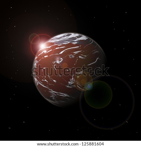 Planet in space and light