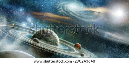 Planet in space with numerous prominent ring system and four moons orbit the planet. NO NASA images used - stock photo
