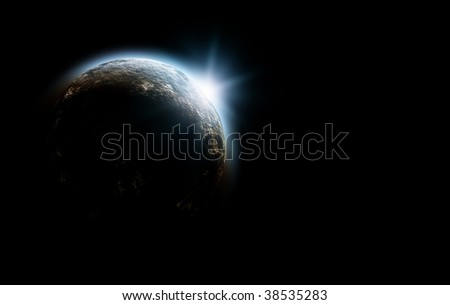 planet in space with sunrise - stock photo