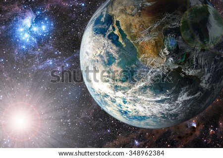 Planet in the background galaxies and luminous stars. Elements of this image furnished by NASA (http://www.nasa.gov/) - stock photo