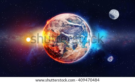 Planet in the background galaxies and luminous stars, over color - Elements of this Image Furnished by NASA  - stock photo
