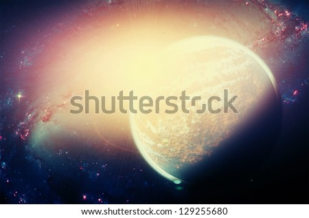 Planet in the space and stars with galaxies. Elements of this image furnished by NASA.