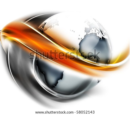 planet is surrounded by smooth lines - stock photo