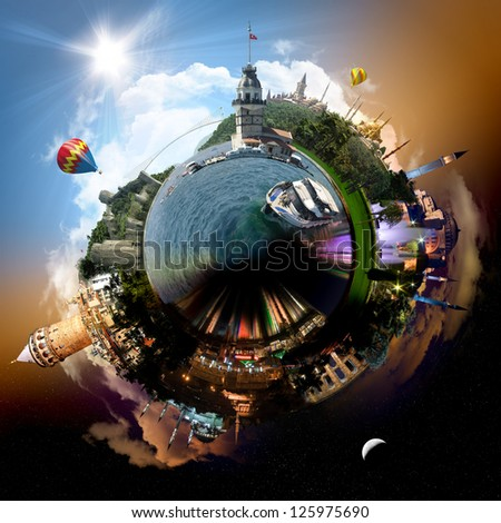 Planet Istanbul - Miniature planet of Istanbul, Turkey, with all important buildings and attractions of the city - stock photo