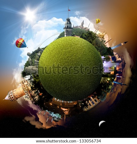 Planet Istanbul - Miniature planet of Istanbul, Turkey, with all important buildings and attractions of the city of Istanbul, Turkey - grassy park globe - stock photo