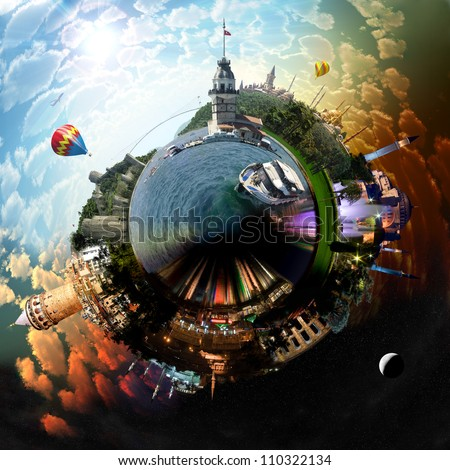 Planet Istanbul - Miniature planet of Istanbul, with all important buildings and attractions of the city - stock photo