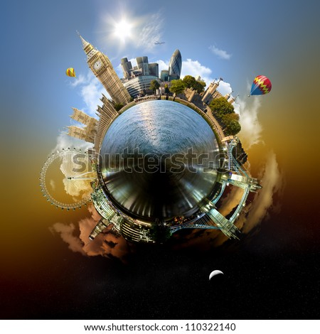 Planet London - Miniature planet of London, with all important buildings and attractions of the city - stock photo