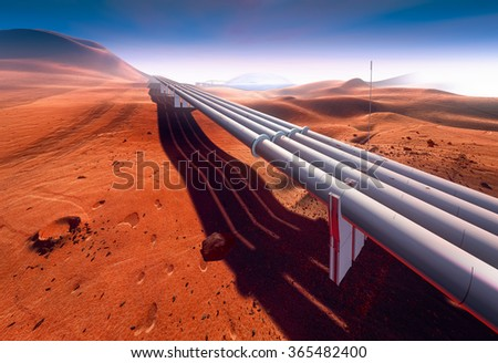 Planet Mars and water pipeline, vision of water extraction and distribution using large pipelines - stock photo
