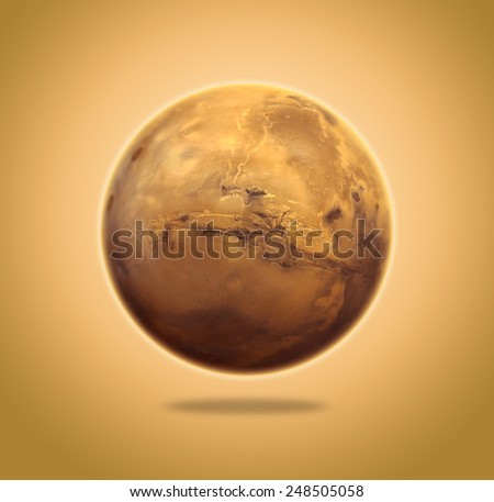 Planet Mars - Elements of this Image Furnished by NASA - stock photo