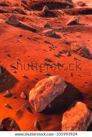 Planet Mars, red dry dunes and large rocks, Martian ground