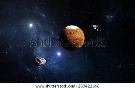 Planet Mars with moon, illustration.(Stock video version is also available in my portfolio. Clip ID 10460087) - stock photo