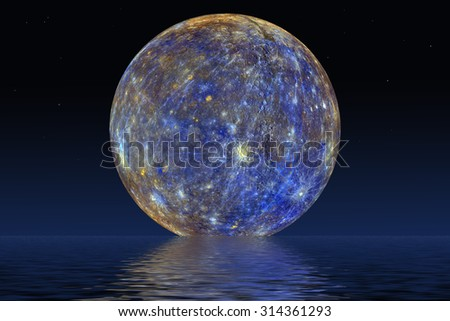 Planet Mercury. Elements of the furnished by NASA.