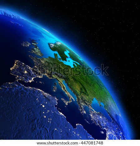 Planet night map. Elements of this image furnished by NASA - stock photo