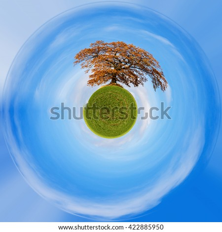 Planet of alone orange autumn tree on a green meadow and blue sky with clouds. Little planet with green grass, ecology concept. Tiny green planet projection - stock photo