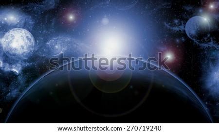 Planet of Ice Galaxy - stock photo