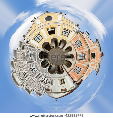 Planet of Telc, Czech Republic - Unesco city. A row of the houses on main square, Little planet with old historic houses, unesco concept. Tiny vintage city planet - stock photo