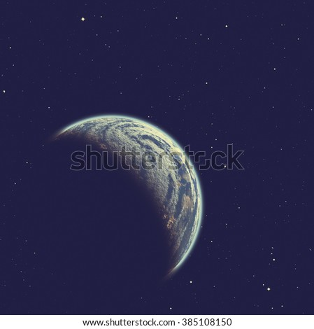 Planet on a starry background. Digital illustration. No elements of NASA or other third party. - stock photo