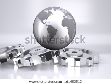 Planet on grey background with cogs