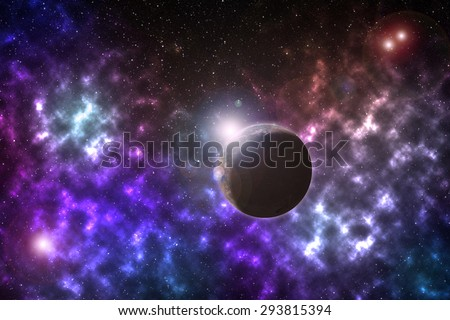 Planet on multiple star system - Elements of this image furnished by NASA