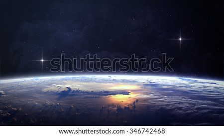 Planet over the nebulae in space. Elements of this image furnished by NASA - stock photo