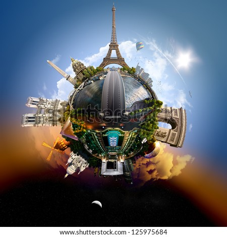Planet Paris - Miniature planet of Paris, France, with all important buildings and attractions of the city - stock photo