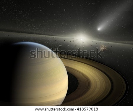 Planet Saturn in space. - stock photo