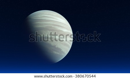 Planet similar to Jupiter in the night starry sky