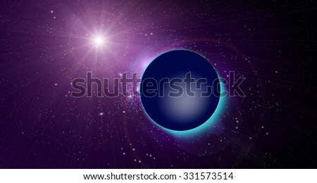 Planet sphere in a beautiful abstract space. Nebula and flash in cosmos