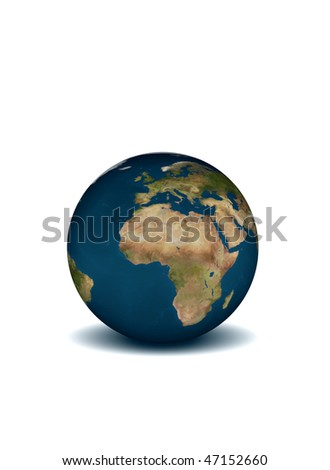 PLANET THE EARTH ON THE WHITE BACKGROUND