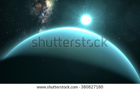 planet Uranus with sunrise on the space background. Elements of this image furnished by NASA