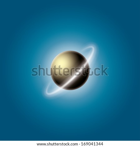 planet with a ring of asteroids. (rasterized version) - stock photo