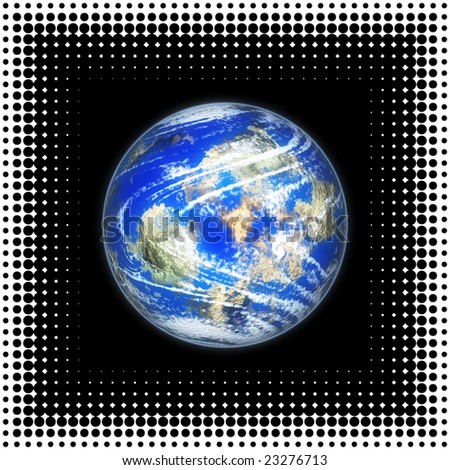 Planet with halftone frame
