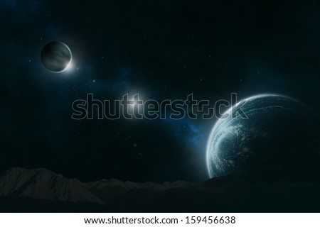 Planet with moon in a distant galaxy, deep in the unknown universe - stock photo