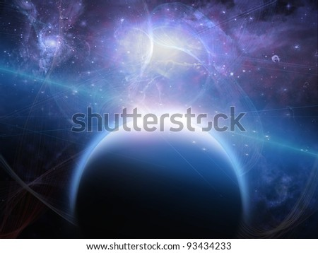 Planet with nebulos filaments - stock photo