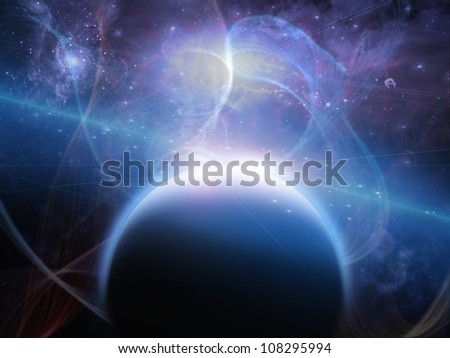 Planet with nebulous filaments - stock photo