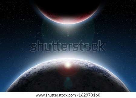 Planet  with sunrise in space. Elements of this image furnished by NASA  - stock photo
