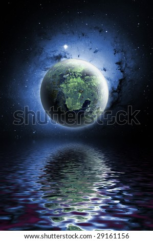 Planet with water reflection