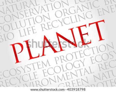 Planet word cloud, environmental concept - stock photo